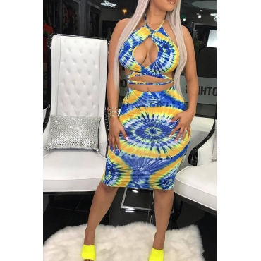 Lovely Bohemian Sexy Printed Hollow-out Blue Two-piece Skirt Set
