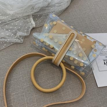 Lovely Stylish Dot Printed Yellow Crossbody Bag