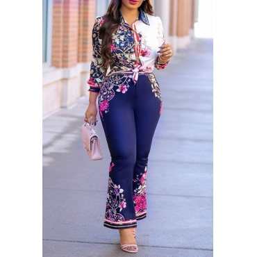 Lovely Stylish Floral Printed Blue Two-piece Pants Set