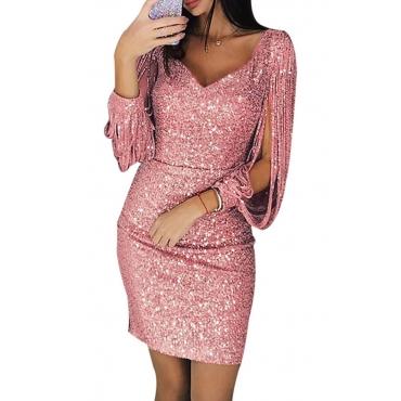 Lovely Stylish V Neck Hollow-out Pink Mini Prom Dress