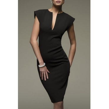 Lovely Stylish V Neck Black Knee Length OL Dress