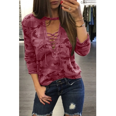 Lovely Casual Camouflage Printed Lace-up Hollow-out Wine Red T-shirt