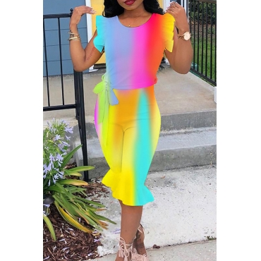 Lovely Chic Flounce Design Printed Multicolor One-piece Romper