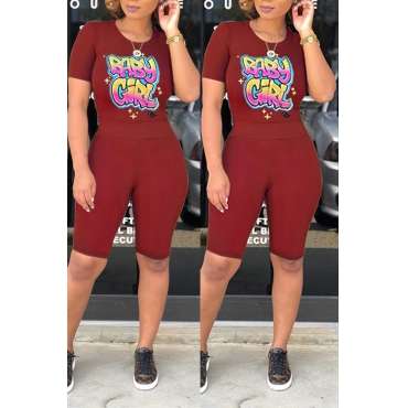 Lovely Casual O Neck Letter Printed Wine Red Two-piece Shorts Set