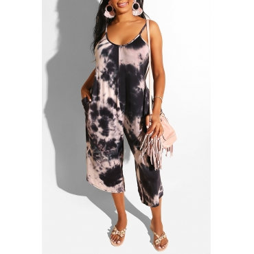 Lovely Casual Spaghetti Straps Tie-dye Black One-piece Jumpsuit