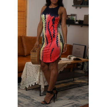 Lovely Leisure O Neck Printed Gradient Mini Dress