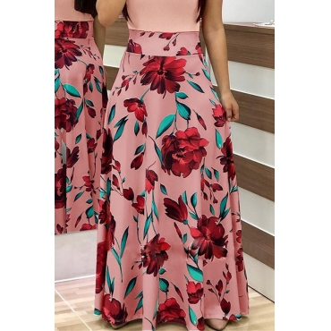 Lovely Stylish High Waist Floral Printed Pink Ankle Length A Line Skirt