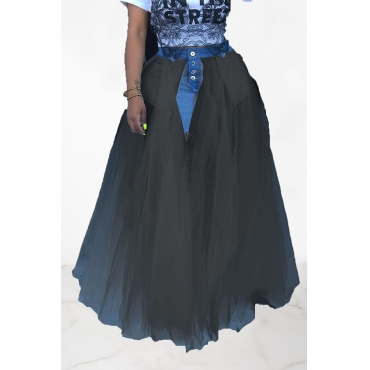 Lovely Stylish Gauze Patchwork Black Denim Floor Length A Line Skirt