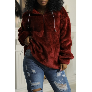 Lovely Chic Hooded Collar Zipper Design Wine Red Velvet Hoodie