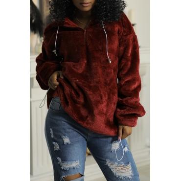 Lovely Chic Hooded Collar Zipper Design Wine Red Velvet Hoodies