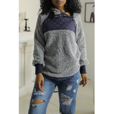 Lovely Stylish Mandarin Collar Patchwork Dark Blue Blending Hoodies