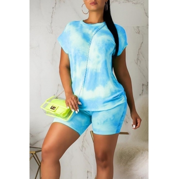 Lovely Casual O Neck Tie-dye Baby Blue Two-piece Shorts Set
