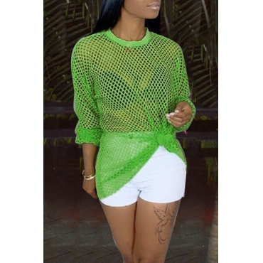 Lovely Trendy O Neck Hollow-out Green Blouse
