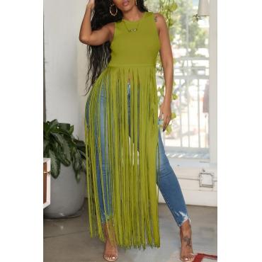 Lovely Chic Tassel Design Green Blouse