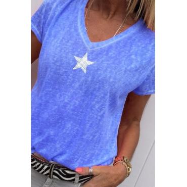 Lovely Casual V Neck Pentagram Printed Blue T-shirt