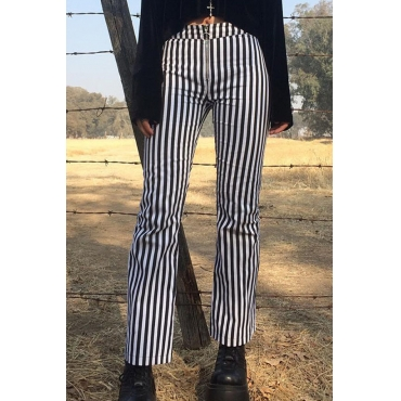 Lovely Casual Mid Waist Striped Pants