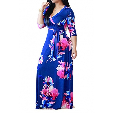 Lovely Bohemian Printed Royalblue Floor Length A Line Plus Size Dress