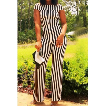 Lovely Work Off The Shoulder Striped White One-piece Jumpsuit