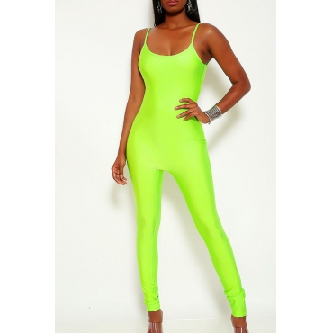 Lovely Casual Spaghetti Straps Green One-piece Jumpsuit