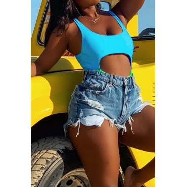 Lovely Patchwork Hollow-out Blue One-piece Swimwear