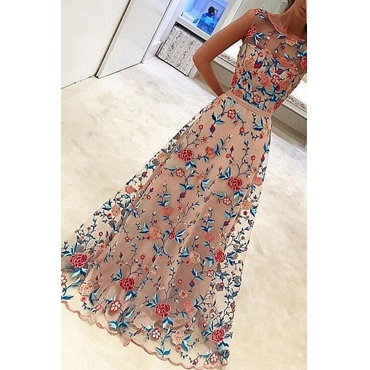 Lovely Stylish Gauze Patchwork Floral Printed Light Pink Ankle Length Prom Dress