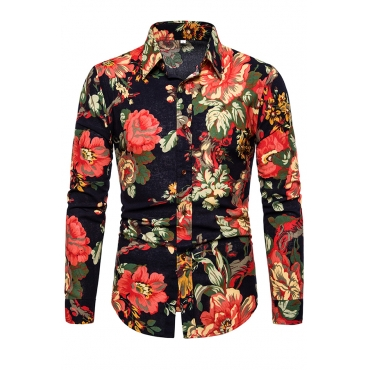 Lovely Stylish Turndown Collar Printed Red Shirt