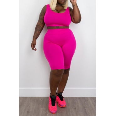 Lovely Casual Rose Red Plus Size Two-piece Shorts
