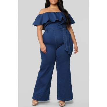 Lovely Stylish Off The Shoulder Ruffle Deep Blue Plus Size One-piece Jumpsuit