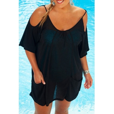Lovely Casual O Neck Hollow-out Black Plus Size Cover-Up