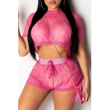 Lovely Sexy See-through Rose Red Two-piece Shorts Set(Without Lining)