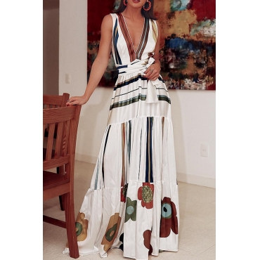 Lovely Bohemian V Neck Printed White Floor Length Dress