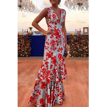 Lovely Bohemian Floral Printed Red Floor Length Prom Dress