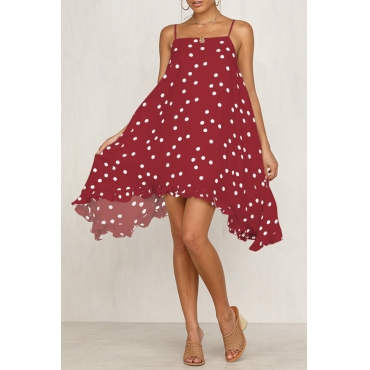 Lovely Casual Spaghetti Straps Dot Printed Red Knee Length A Line Dress