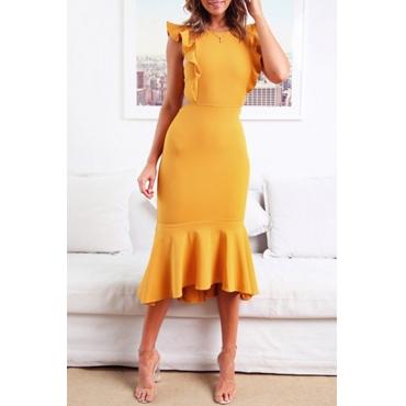 Lovely Stylish O Neck Ruffle Design Yellow Mid Calf Dress