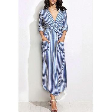 Lovely Casual Turndown Collar Striped Blue Ankle Length OL Dress