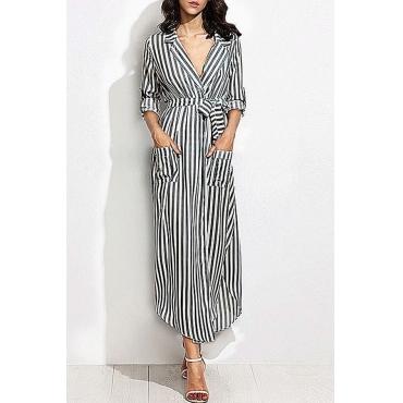 Lovely Casual Turndown Collar Striped Black Ankle Length OL Dress