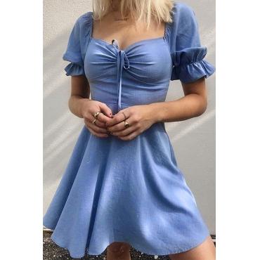 Lovely Stylish Square Collar Blue Mini Dress