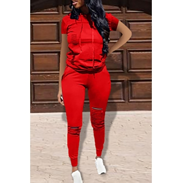 Lovely Casual Hooded Collar Broken Holes Red Two-piece Pants Set