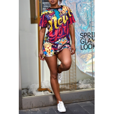 Lovely Casual O Neck Letter Printed Multicolor Mini Dress