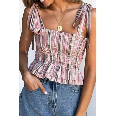 Lovely Sweet Spaghetti Straps Striped Light Pink Tank Top