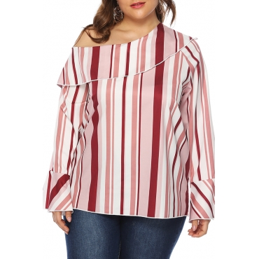 Lovely Casual One Shoulder Striped Blouse