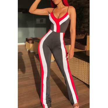 Lovely Casual Spaghetti Straps Patchwork Grey One-piece Jumpsuit