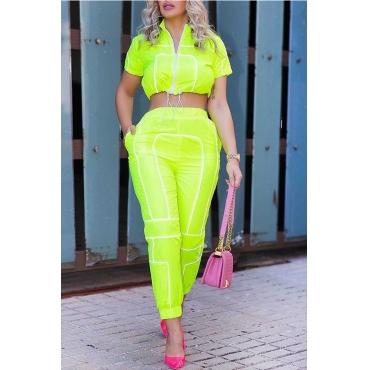 Lovely Casual O Neck Patchwork Green Two-piece Pants Set
