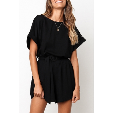 Lovely Casual O Neck Black One-piece Romper