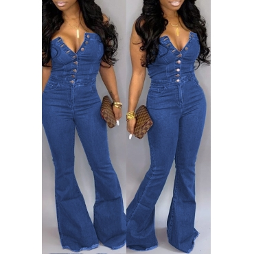 Lovely Stylish Off The Shoulder Buttons Design Blue One-piece Jumpsuit
