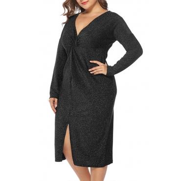 Lovely Stylish V Neck Split Black Knee Length Dress