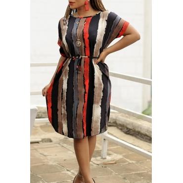 Lovely Casual O Neck Striped Printed Black Knee Length Dress