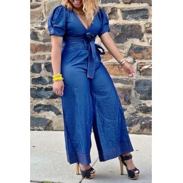 Lovely Stylish V Neck Lace-up Blue Denim One-piece Jumpsuit