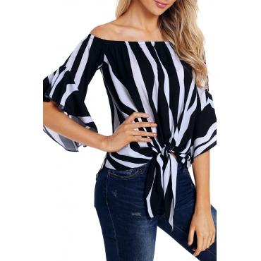 Lovely Stylish Off The Shoulder Striped Black Blouse