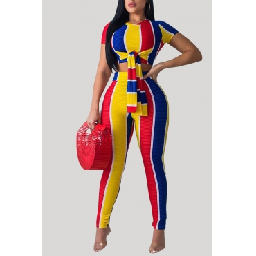 Lovely Casual O Neck Striped Patchwork Yellow Two-piece Pants Set